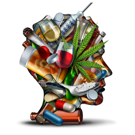 Concept of drug addiction and substance dependence as a junkie symbol or addict health problem with cocaine hroin cannabis alcohol and prescription pills with 3D illustration elements. Stock Photo