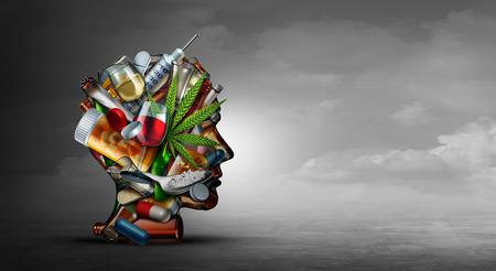 Concetto di tossicodipendenza e dipendenza da sostanze come simbolo di drogato o problema di salute del tossicodipendente con cocaina hroin cannabis alcol e pillole di prescrizione con elementi illustrativi 3D.