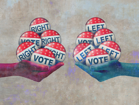 Left and right vote abstract politics concept as a conservative and a liberal campaigning in an election with 3D illustration elements. Reklamní fotografie - 110645984