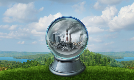 Climate change environmental concept as a polluted environment inside a crystal ball predicting the future of an ecological disaster with 3D illustration elements.