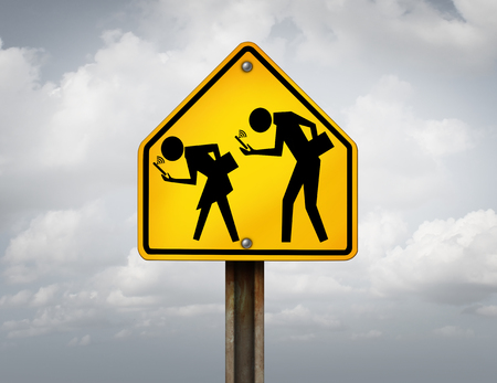 Technology and students with internet addiction holding smartphones or mobile devices as a school crossing sign with young people hooked on internet social media with 3D illustration elements.
