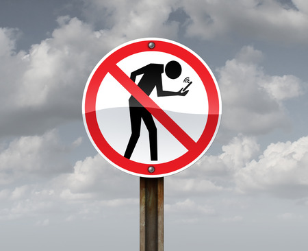 Banning cell phone use and internet addiction holding smartphones or mobile devices as a ban sign with a person hooked on social media with 3D illustration elements. Standard-Bild - 114513682