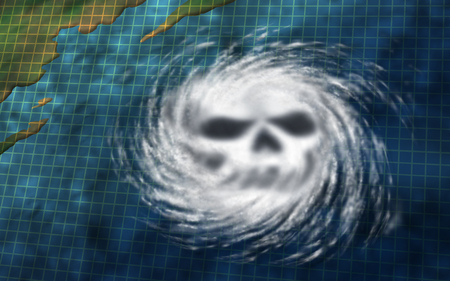 Hurricane danger as a dangerous natural disaster tropical storm weather system off an ocean coast shaped as a death skull in a 3D illustration style. Stock Photo