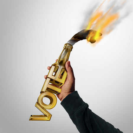 Political violence and violent vote concept as a molotov cocktail bottle shaped as a voting text with a criminal rebel throwing the petrol bomb with 3D illustration elements.
