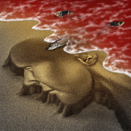 Concept of red tide beach human health hazard warning as hazardous natural toxin in the ocean or sea as a concept for deadly natural toxic algae in a 3D illustration style. Stock fotó