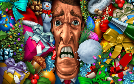 Holiday stress and christmas shopping or feeling overwhelmed in the new year as a psychology concept with 3D illustration elements. Imagens