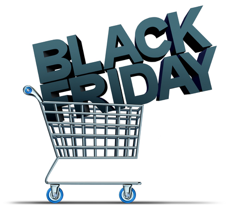 Black friday shopping and a November holiday retail sale as a seasonal promotion as a 3D illustration.