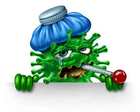 Influenza character sign and winter flu icon as a virus infection symbol as a sick feverish cartoon pathogen cell with an ice bag and thermometer as a 3D render concept.