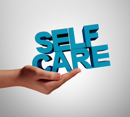 Self care individual and wellness health support as a medicine or wellbeing concept with a hand holding text with 3D illustration elements. Standard-Bild - 114513722