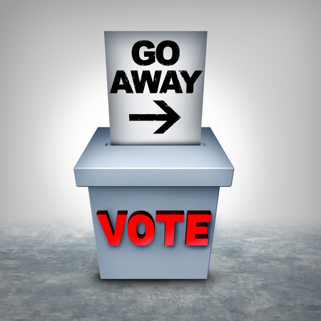 Voter suppression and vote disenfranchisement to influence the outcome of an election as a revocation of the right for voting access and laws that disenfranchise voters as a 3D illustration.
