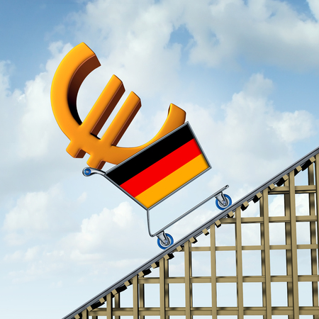 German inflation rise in a booming Germany economy and financial market of goods and services or European consumer prices and economic Euro currency hike concept as a 3D illustration.