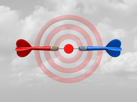 Concept of competition as a business success symbol as rivals compete for the same target bullseye as dart arrows focused on the central goal as a 3D illustration. Reklamní fotografie