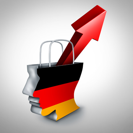 Germany inflation rise in a booming German economy and financial market of goods and services aor European surging consumer prices and economic interest rate hike concept as a 3D illustration.