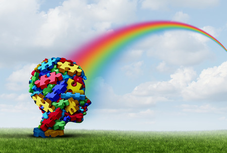 Asperger syndrome as a developmental mental disorder with nonverbal communication behavior as a child mind with a hope rainbow of therapy and treatment success as a 3D illustration. Stock Photo