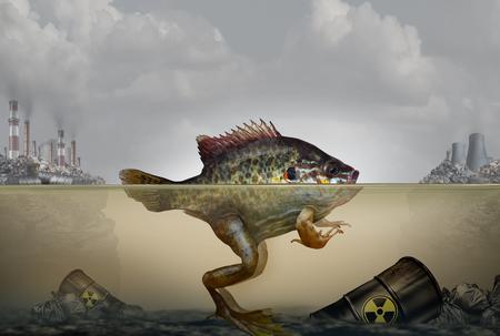 Mutación genética de la contaminación ambiental y daño hereditario del ADN causado por un ambiente contaminado con desechos industriales en el aire y el agua como un pez y una rana híbridos con elementos de ilustración 3D.