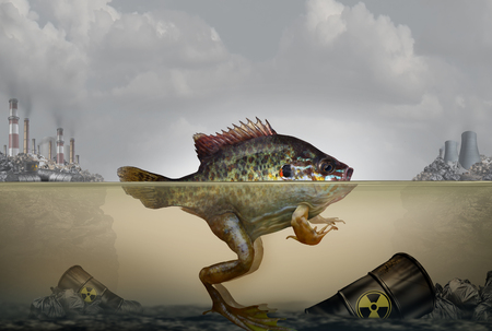 Environmental pollution genetic mutation and heritable DNA damage caused by a polluted environment with industrial waste in air and water as a hybrid fish and frog with 3D illustration elements.