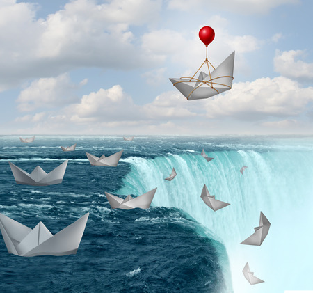 Insurance protection and risk aversion security symbol as paper boats in peril with one saved by a balloon as a coverage assurance concept with 3D illustration elements. Stock Photo