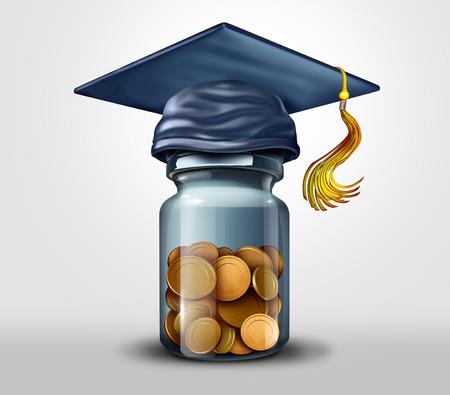 Fondo de educación o becas y símbolo de planificación financiera de deuda de aprendizaje o matrícula escolar como una ilustración 3D.