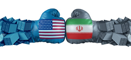 Iran United States or USA economic sanctions conflict with two opposing trade partners as import and exports dispute concept with 3D illustration elements.