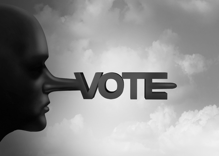 Vote fraud and voter rigging or electoral crime with illegal ballots from an election and voting recount symbol as corruption at the polls as political suppression crimes with 3D illustration elements. Stock Photo