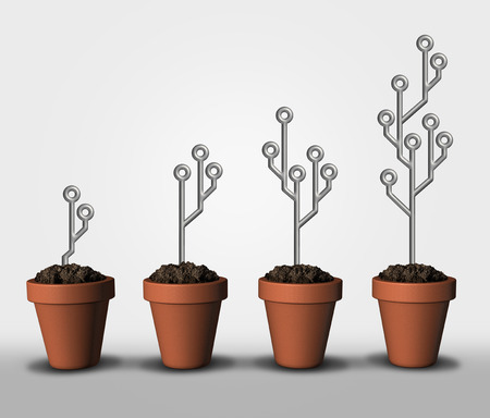 Technological growth and computing exponential advancements in programming as electronic circuit board symbols in a plant pot growing as a 3D illustration elements.