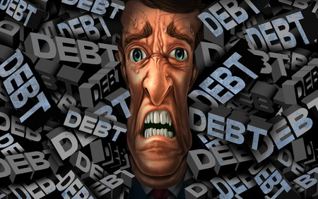 Financial debt stress and money management problems as a person with budget credit pressure as a business concept with 3D illustration elements.
