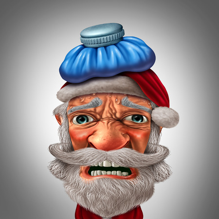 Christmas headache with a santa claus feeling sad during winter holiday season as a funny seasonal character with 3D illustration elements. Stock Photo