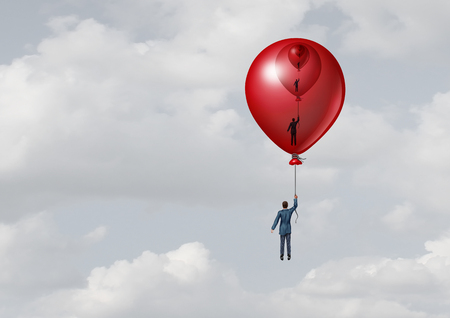 Business support management metaphor as a person inside a decreasing size balloon with one inside another with 3D illustration elements. Stock Photo