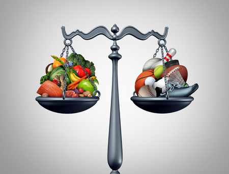 Healthy lifestyle balance and workout fitness and health food eating as a weight loss concept with 3D illustration elements.
