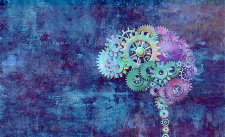 Cervello creativo come un concetto astratto di mente colorata su uno sfondo grunge come illustrazione 3D.