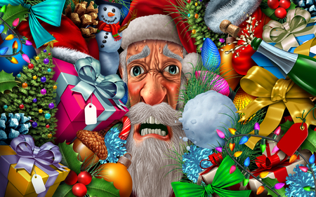 Frustrated Santa Claus and christmas pressure or winter holiday season santaclause headache with 3D illustration elements. Stock Photo