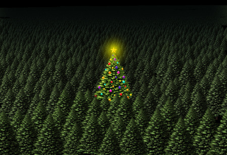 Concept of Christmas tree as a decorated pine in a green forest on a background with text area as a 3D illustration.