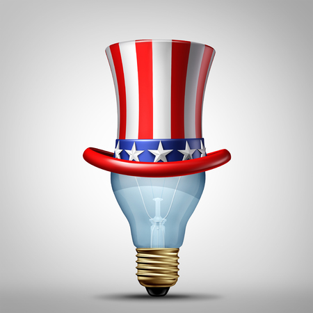 United States creativity and American creative ideas concept as a Us patriotic hat on a lightbulb as an illuminated light of imagination as a 3D illustration. Imagens