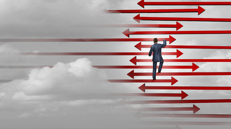 Leadership winning strategy business success concept as a businessman climbing a ladder made of arrows as a corporate career climb metaphor with 3D illustration elements.