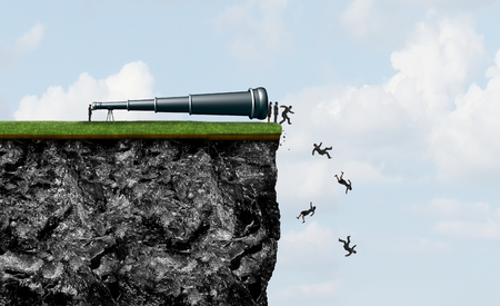 Research risk and business espionage as a boss or executive employee spying on employees as they are pushed off a cliff as a corporate destructive behavior with 3D illustration elements. Stock Photo