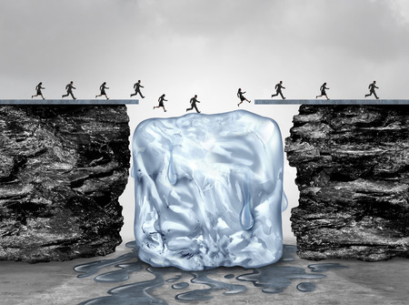 Limited time opportunity and urgent act fast business concept as a bridge made of ice melting away as an emergency deadline or expiration symbol with 3D illustration elements. Stock Photo