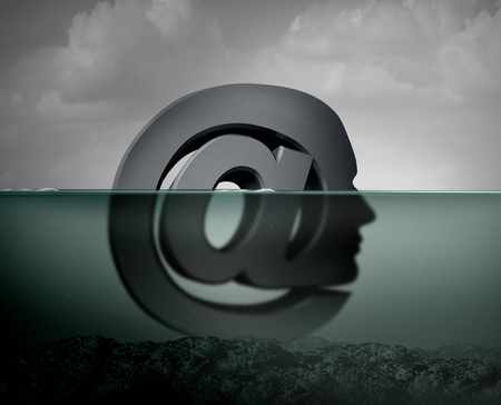 Internet depression or cyberbullying psychological anxiety suffering and texting risk concept as an email symbol shaped as a person depressed because of compulsive  habits with social media sites 3D illustration style.