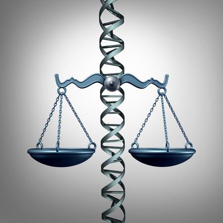 La bioéthique et la loi représentant la médecine et la philosophie ou l'éthique médicale concernant l'édition de gènes ou l'éthique et la législation de la biotechnologie génétique en tant qu'illustration 3D. Banque d'images