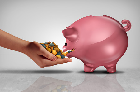 Concept of savings as a hand feeding money or coins to a hungry piggybank or piggy bank with 3D illustration elements.