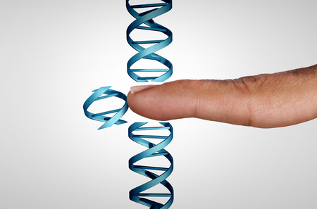 Editing genes and gene manipulation as a CRISPR genome engineering medical biotechnology health care concept with a DNA strand with 3D illustration elements. Stock Photo