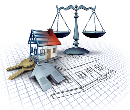 Home construction law and legal building codes as a real estate legislation featuring blue print plans with house keys and a three dimensional residential structure with a justice scale on white as a 3D illustration.
