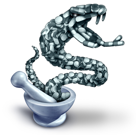 Fentanyl opioid danger and drug overdose health risk with prescription painkiller addiction epidemic concept as a group of pills shaped as a venemous snake with 3D illustration elements with a mortar and pestle. Stock Photo
