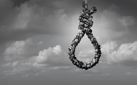 Fentanyl health risk and opioid drug overdose risk trap and medical crisis with a prescription painkiller addiction epidemic concept as a group of pills shaped as a noose with 3D illustration elements as a surreal horizontal composition.