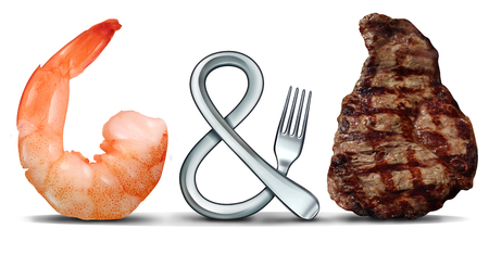 Surf and turf seafood and steak food concept as a fork shaped as a symbol on a white background with 3D illustration elements.
