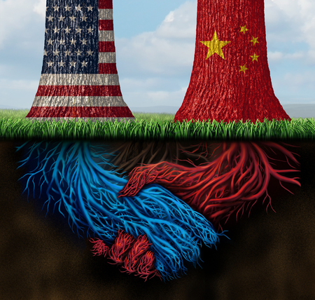 China USA trade agreement and United States deal or American tariffs negotiation as an economic  taxation solution over import and exports concept with 3D illustration elements. Stock Photo