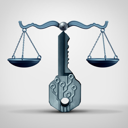 Encryption laws or GDPR and digital communication or data security legislation or computing protection as a 3D illustration. Reklamní fotografie - 114513835