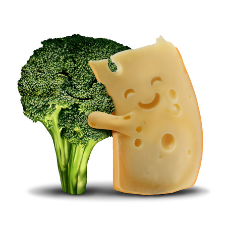 Funny broccoli and fun cheese food concept as cute smiling happy snack ingredients and with a healthy green vegetable character in a 3D illustration style. Stock Photo