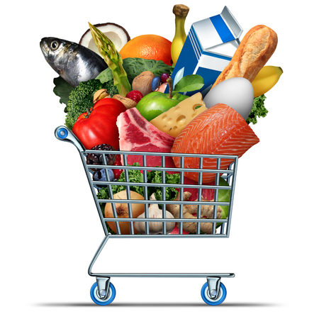 Grocery and groceries symbol as a supermarket shopping cart with milk eggs cheese meat bread fish vegetables and fruit as an icon representing consumer food purchase at the market with 3D illustration elements.
