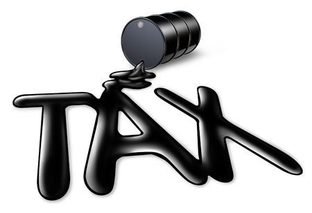 Carbon tax symbol of oil and gas price increase on the value of a barrel of crude with a fuel spill in the shape of taxes text as an icon of energy and the global petroleum industry with 3D illustration elements.