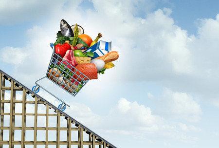 Grocery prices decrease and food cost decline or savings on groceries budget going down as a shopping cart as an economic symbol with milk bread eggs and vegetables costing less with 3D illustration elements.
